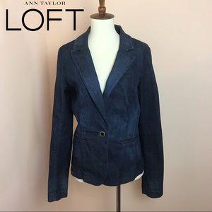 Ann Taylor LOFT One Button Dark Wash Denim Jacket